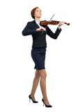 Businesswoman playing violin. Young pretty businesswoman playing violin isolated on white stock photos