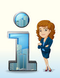 A businesswoman with a pleasing personality beside the number on. Illustration of a businesswoman with a pleasing personality beside the number one figure on a Royalty Free Stock Images
