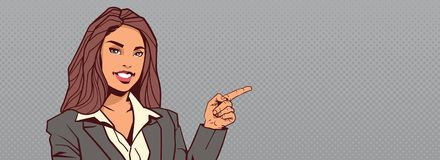 Businesswoman Point Finger To Background With Copy Space Horizontal Banner Happy Smiling Business Woman. Vector Illustration royalty free illustration