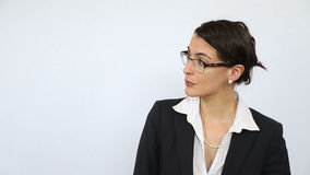 Businesswoman point to suggest good idea stock footage