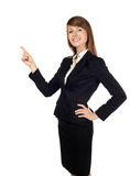 Businesswoman pointing. Pretty businesswoman pointing. Isolated on white Royalty Free Stock Image