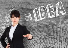 Businesswoman pointing against binary number background with idea in text Stock Image