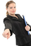 Businesswoman Pointing At You. Royalty Free Stock Photos