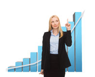 Businesswoman pointing at big 3d chart Royalty Free Stock Images