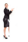 Businesswoman pointing at the big banner Royalty Free Stock Image