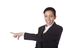 Businesswoman pointing at blank copyspace Royalty Free Stock Photos