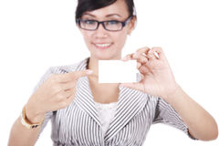 Businesswoman pointing on businesscard Royalty Free Stock Image
