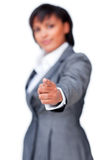 Businesswoman pointing at the camera Stock Images