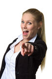 Businesswoman pointing at camera Stock Photos