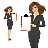 Businesswoman pointing clipboard. Illustration of beautiful businesswoman pointing clipboard  over white background Stock Photos