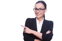 Businesswoman pointing copy space. Royalty Free Stock Photography
