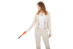 Businesswoman pointing down with pen. Stock Image