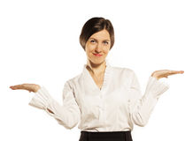 Businesswoman pointing at empty copyspace Stock Image