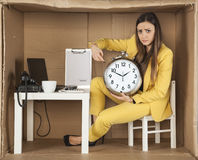 Businesswoman pointing at ending time Stock Images