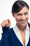 Businesswoman pointing finger at camera Stock Image