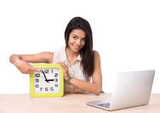 Businesswoman pointing finger on the clock Stock Photos