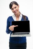 Businesswoman pointing finger on laptop screen Royalty Free Stock Photo