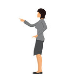 Businesswoman pointing with a finger. Vector illustration,  on white background. Woman in business clothes pointing with a finger. Vector illustration,  on Stock Photo