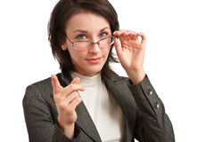 Businesswoman pointing a finger Royalty Free Stock Image