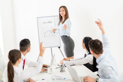 Businesswoman Pointing Flip Chart royalty free stock photos