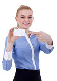 Businesswoman pointing at her business card Royalty Free Stock Photography