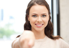 Businesswoman pointing her finger Royalty Free Stock Photography