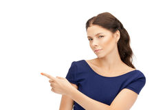 Businesswoman pointing her finger Royalty Free Stock Image