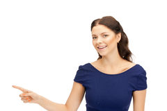 Businesswoman pointing her finger Stock Image