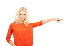 Businesswoman pointing her finger Royalty Free Stock Photos