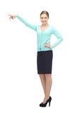 Businesswoman pointing her finger Stock Photography