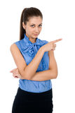 Businesswoman pointing her finger Stock Images