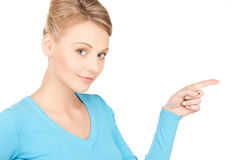 Businesswoman pointing her finger Stock Photo