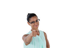Businesswoman pointing her finger at the camera Stock Images