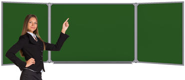 Businesswoman pointing her finger on chalkboard Royalty Free Stock Photography