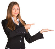Businesswoman pointing her finger at the empty Royalty Free Stock Photo