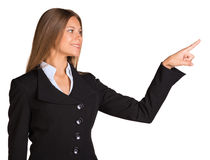 Businesswoman pointing her finger forward Royalty Free Stock Photos