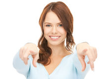 Businesswoman pointing her finger Stock Photos