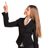 Businesswoman pointing her finger upward Stock Images