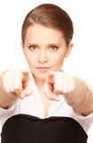 Businesswoman pointing her fingers Stock Photography