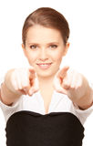 Businesswoman pointing her fingers Stock Images