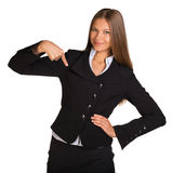 Businesswoman pointing at himself Royalty Free Stock Photos