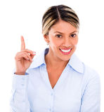 Businesswoman pointing an idea Stock Image