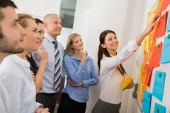 Businesswoman Pointing Labels On Whiteboard Stock Photos