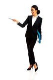 Businesswoman pointing by pen Royalty Free Stock Photography