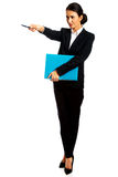 Businesswoman pointing by pen Stock Photo