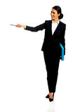 Businesswoman pointing by pen Stock Photography