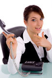 Businesswoman pointing at phone Royalty Free Stock Photos