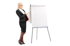 Businesswoman pointing on presentation board Stock Images