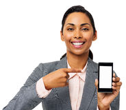 Businesswoman Pointing At Smart Phone Royalty Free Stock Photo