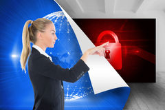 Businesswoman pointing somewhere stock photo